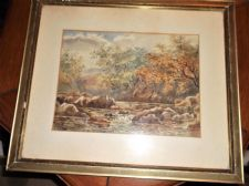 "FRAMED GLAZED ORIGINAL WATERCOLOUR BABBLING BROOK GOLDEN TREES 17.5"" X 14.75"""